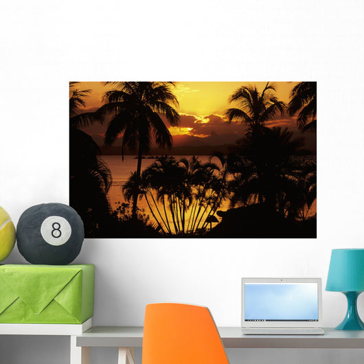 Fiji, Sunset Over Suva Bay, Silhouetted Palm Trees In Foreground Wall Mural