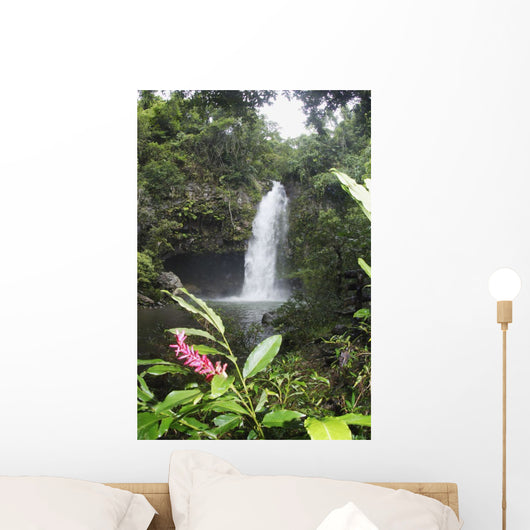 Tavoro Waterfall With Pink Ginger Blossom In Foreground Wall Mural
