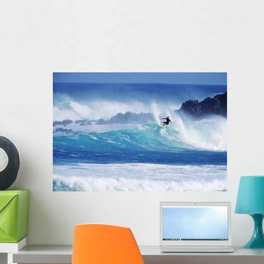 Surfer Carving Top Of Wave Wall Mural