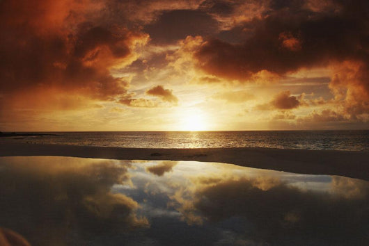 Beach Tidepool Next To Ocean Reflecting The Sunset Sky Wall Mural