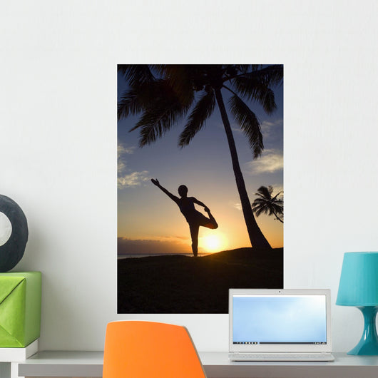 Hawaii, Maui, Olowalu, Woman Doing Yoga At Sunset Under Palm Trees Wall Mural