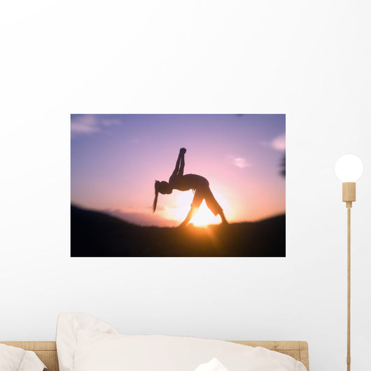 Hawaii, Maui, Olowalu, Woman Doing Yoga At Sunset Wall Mural