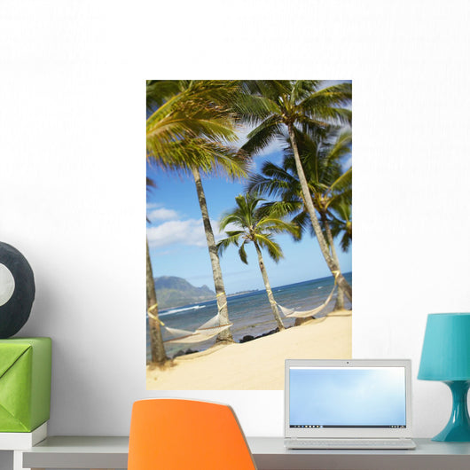 Two Hammocks Hang Between Palm Trees On Sandy Tropical Beach Wall Mural