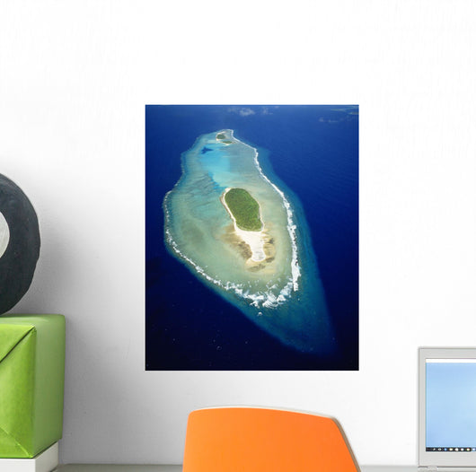 Micronesia, Aerial view of island near Ulithi Yap State Wall Mural