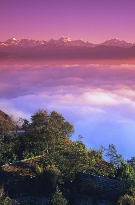 Nepal, Pink sunset and himalayan mountains in background Wall Mural