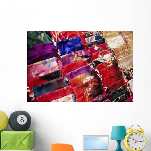 Japan, Beautiful Display Of Many Colorful Silks Wall Mural