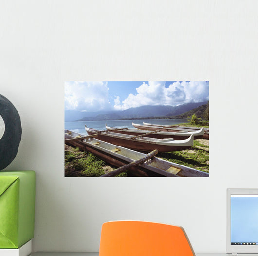 Line Of Outrigger Canoes On Beach Wall Mural