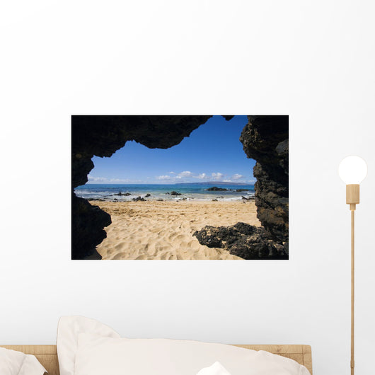 View From Secret Beach Of Kahoolawe From Inside Of A Lavatube Cavern Wall Mural
