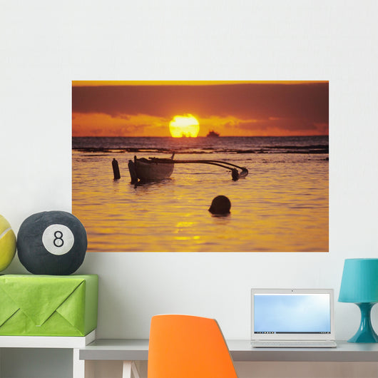 Orange Reflections On Water And Sun On Horizon Wall Mural