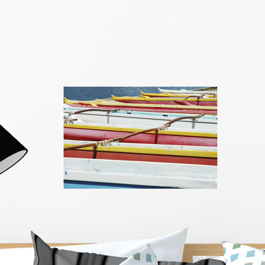Hawaii, Oahu, Lineup Of Colorful Outrigger Canoes Wall Mural