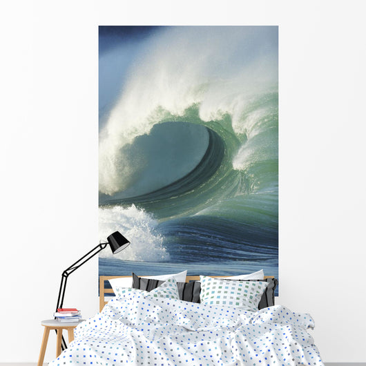 Hawaii, Oahu, North Shore, Waimea Bay, Wild And Crashing Shorebreak Wall Mural