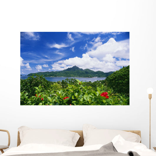 American Samoa, Pago Pago Harbor, Greenery And Flowers, Clouds In Sky Wall Mural