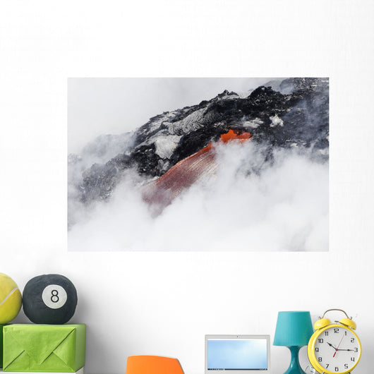 Steam cloud nearly hiding red hot lava flow pouring into Pacific Ocean Wall Mural