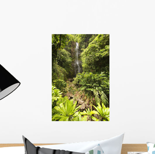 Hawaii, Maui, Kipahulu, Hana Coast, Wailua Falls Surrounded By Foliage Wall Mural