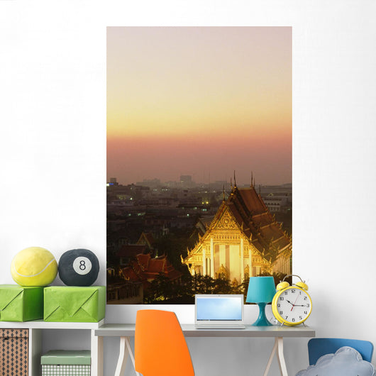 Thailand, Wat Saket Temple at sunset with evening lights Wall Mural