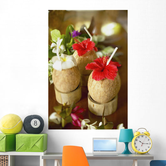 Close-Up Of A Refreshing Tropical Cocktails In Coconut Cups Wall Mural