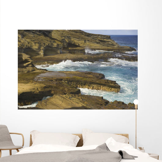 Ocean Crashing Against Rocky Coastline Wall Mural