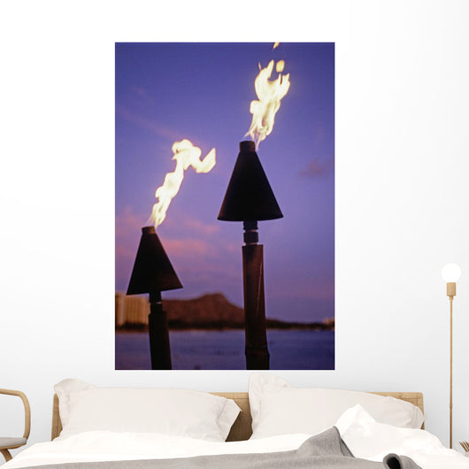 Tiki Torches Burn At Sunset With Diamond Head In Background Wall Mural