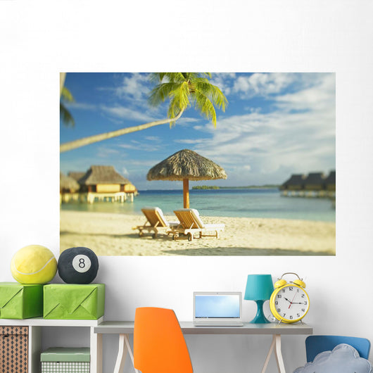 Lounge Chairs And Thatch Umbrella Wall Mural