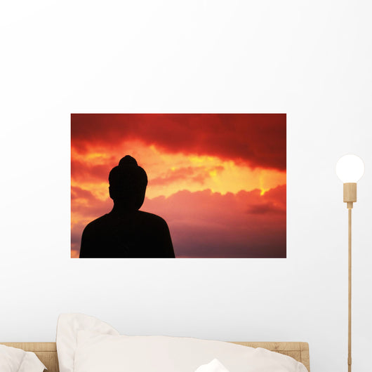 Silhouetted By Pink Sky Wall Mural