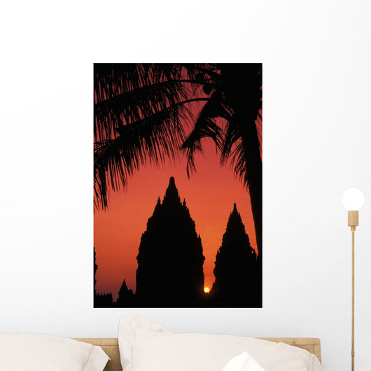 Silhouette Of Temple At Sunset With Palm Tree Wall Mural