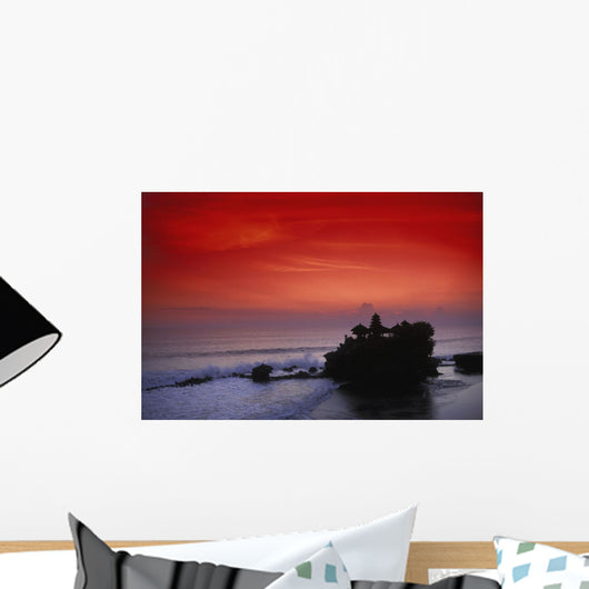 Indonesia, Bali, Taneh Lot Temple Silhouetted At Sunset, Red Sky Wall Mural