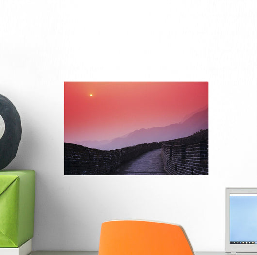 Bright Red Sky And Distant Moon Wall Mural