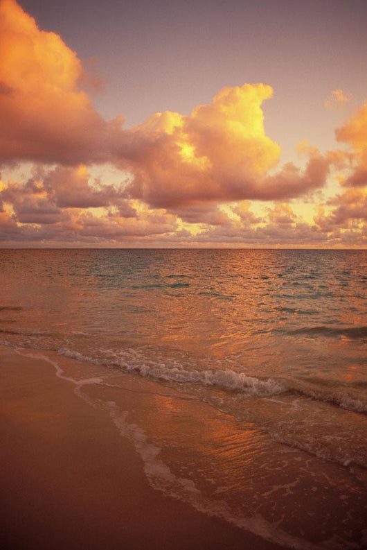 Late Afternoon Light Sreflects Pink Clouds On A Calm Ocean Wall Mural