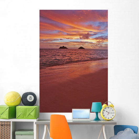 A Colorful Pink Sunrise Over The Mokolua Islands Wall Mural