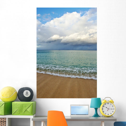 Hawaii, Oahu, Lanikai, Ocean And Clouds Over A Sandy Beach Wall Mural