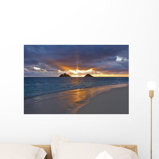 Sunrise With The Mokulua Islands In The Distance Wall Mural