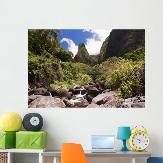 Hawaii, Maui, View Of Iao Needle With Stream, Blue Sky, Clouds Wall Mural