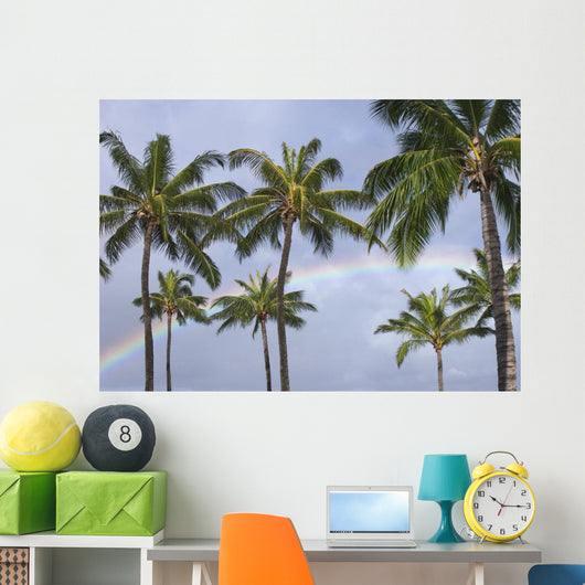 Hi, Oahu, Rainbow And Coconut Palm Trees Over Pearl Harbor Wall Mural