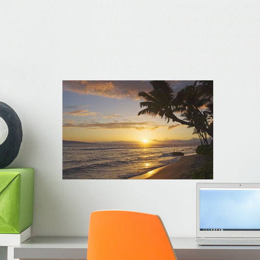 Hawaii, Maui, Kaanapali Resort, Sunset With Beach And Palm Trees Wall Mural