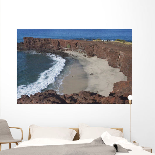 Hawaii, Lanai, Sweetheart Beach Viewed From Above Wall Mural