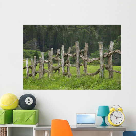 Wooden Fence Bordering Pasture As Lodge At Koele Horse Stables Wall Mural