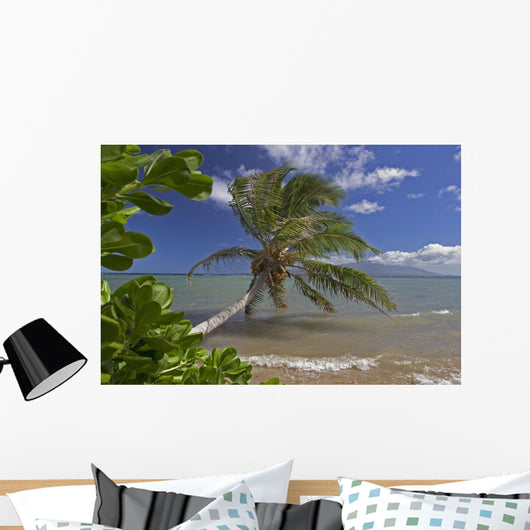 Palm Tree Overhangs The Ocean With A View Of Maui In Distance Wall Mural