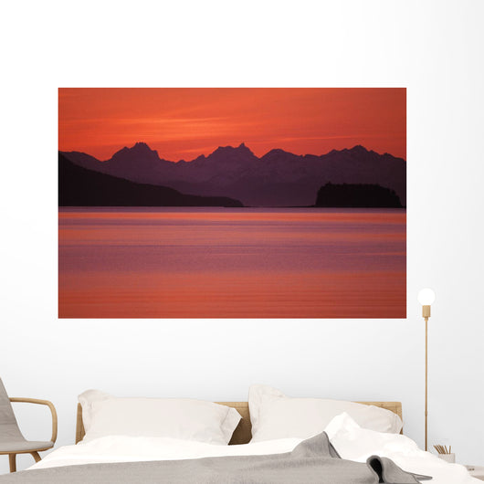 Chilkat Mountains Sunset Over The Water Wall Mural
