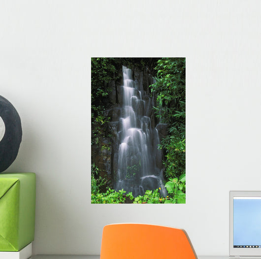 Cascading Waterfall In Lush Tropical Rainforest Wall Mural