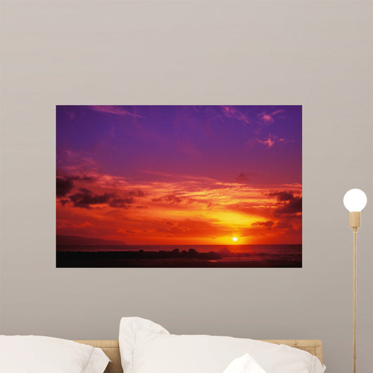 Hawaii, Oahu, North Shore, Sunset Wall Mural