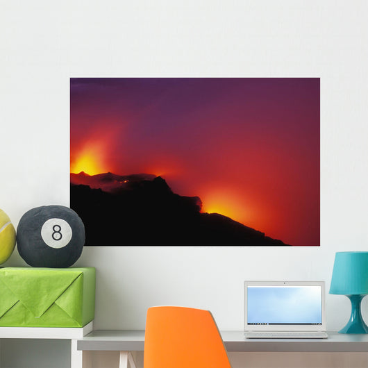 Hawaii, Big Island, Lava Meets The Ocean, Steam, Rock Wall Mural