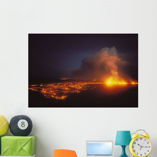 Lava Flow At Night Wall Mural