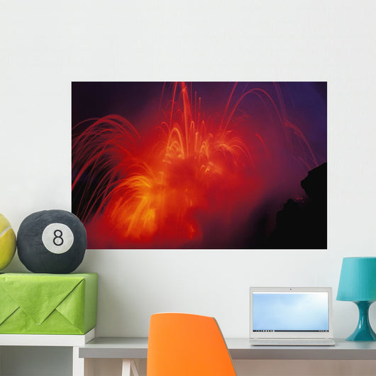 Lava Exploding As Lava Flow Hits The Ocean Wall Mural