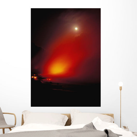 Lava Flow With Full Moon Wall Mural
