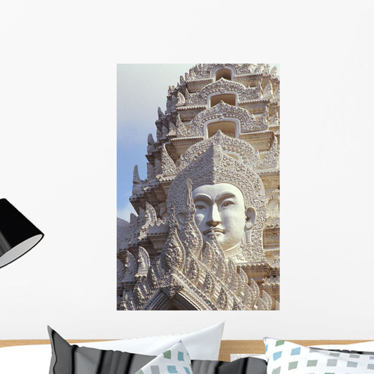 Buddha Image On Ornate Stone Temple Wall Mural