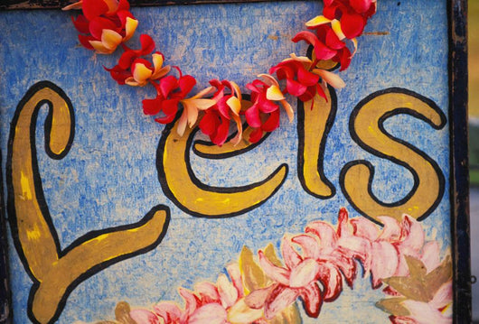 Hawaii, Big Island, Hilo, Lei And Flower Stand Sign Wall Mural