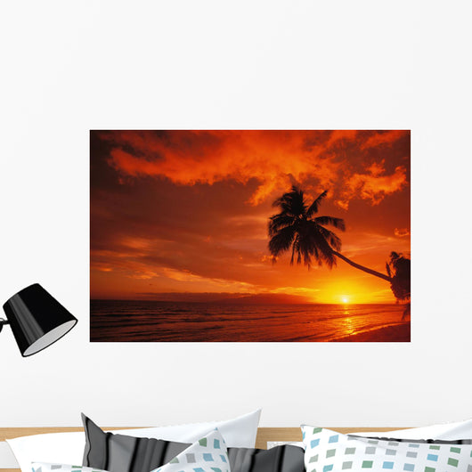 Hawaii, Maui, A Beautiful Sunset At Olowalu Wall Mural