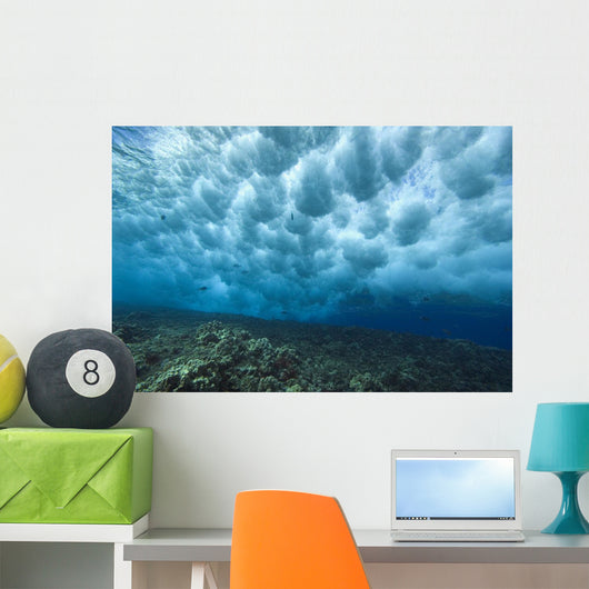 Hawaii, Underwater View Of Wave Breaking Over Shallow Reef Wall Mural