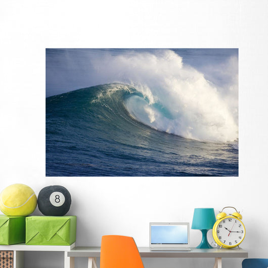 Hawaii, Maui, Large Wave Crashing At Jaws, Well Known Surf Spot Wall Mural