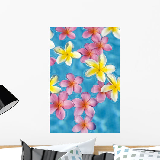 Bright Yellow And Pink Plumeria's Floating In Turquoise Water Wall Mural